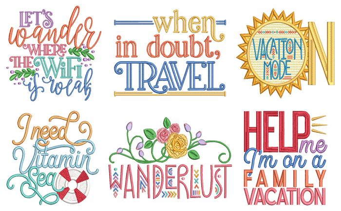 Vacation Word Art 3 Machine Embroidery Designs by JuJu