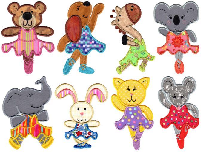 Ballerina Animals Applique Machine Embroidery Designs by JuJu