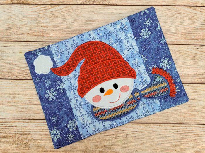 ITH Snowman Mug Rug Digital Embroidery Machine Designs by JuJu
