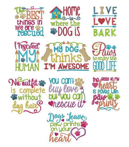 Dog Sayings Set 1 Machine Embroidery Designs by JuJu