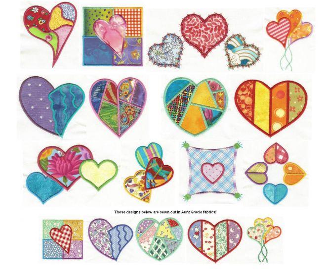 Patchwork Hearts Applique