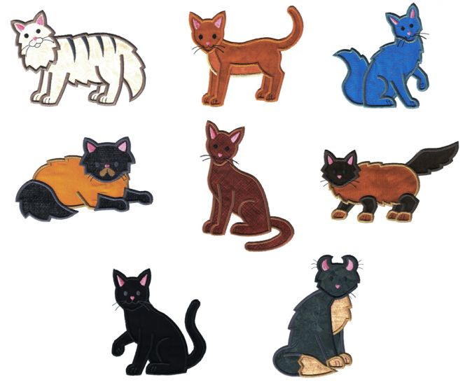 Top Cats Applique Set 2 Machine Embroidery Designs by JuJu
