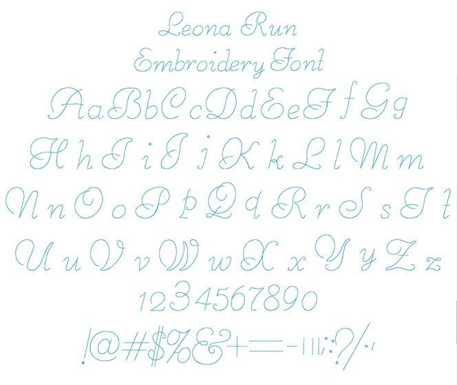 Leona Run Embroidery Font