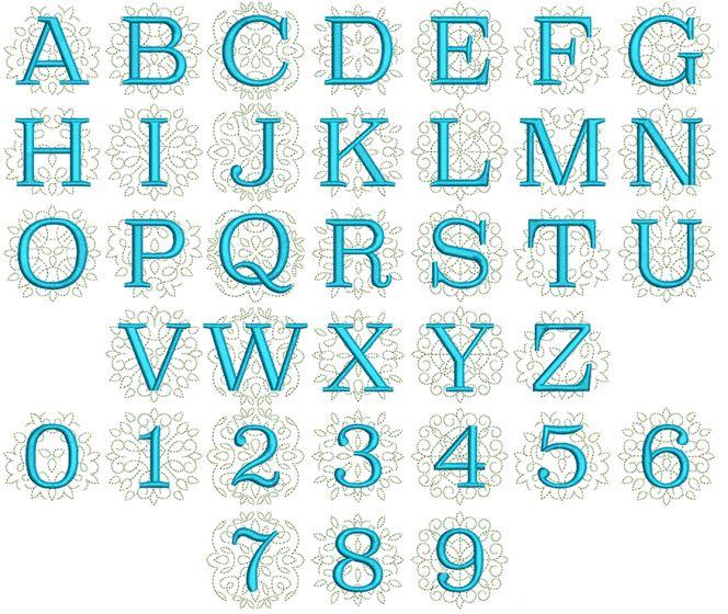 Ornamental Serif Triple Monogram