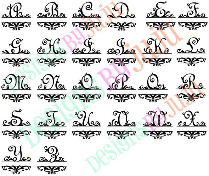 Elegant Split Damask Monogram Designs by JuJu Machine Embroidery Designs