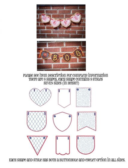 Designs by JuJu Machine Embroidery Designs In The Hoop Big Set of Pennant and Bunting Shapes Set 2
