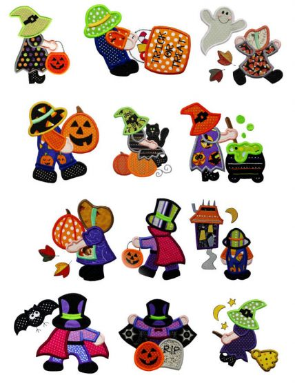 Designs by JuJu has created an adorable set of sunbonnet sue and sam halloween machine appliqué embroidery designs.
