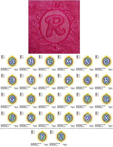 Elegant Oval Frame Embossed Monogram Alphabet