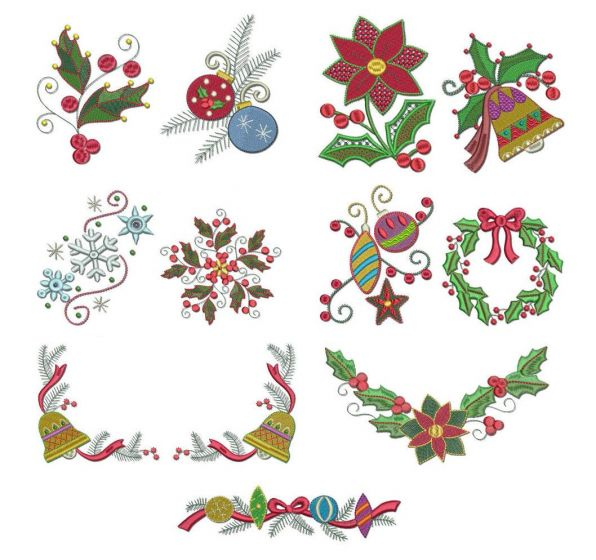 Jacobean Christmas machine embroidery designs