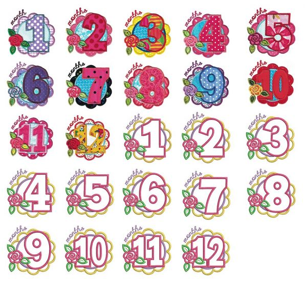 Applique Embroidery Designs by JuJu Girl Months Machine Embroidery Designs