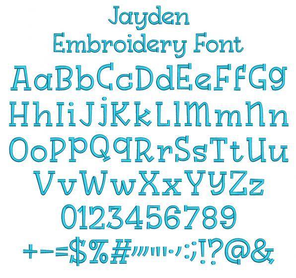 Jayden Embroidery Font