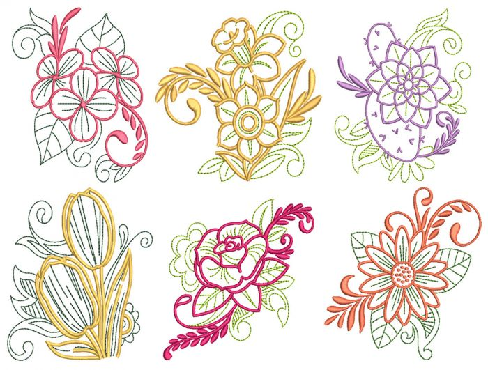 Elegant Floral Motifs 1 Machine Embroidery Designs by JuJu