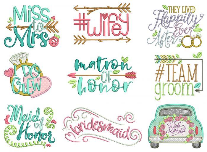 Wedding Word Art Machine Embroidery Designs By JuJu