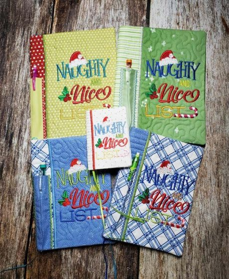 Designs by JuJu Machine Embroidery Designs In The Hoop Christmas Notebook Covers Naughty and Nice LIst