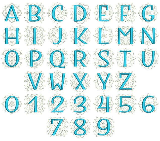 Ornamental Sans Serif Triple Stitch Monogram Machine Embroidery designs by JuJu