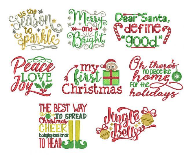 Christmas Word Art Set 4 Machine Embroidery Designs by JuJu