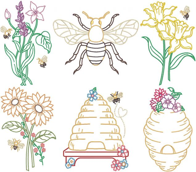 Botanical Bees Digital Machine Embroidery Designs by JuJu