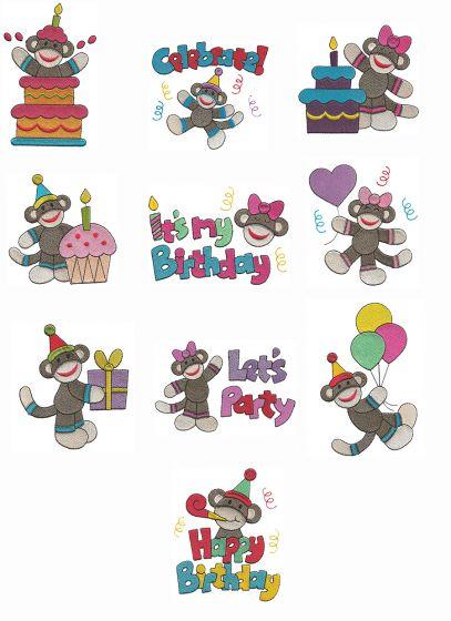 Happy Birthday Sock Monkeys Filled stitch machine embroidery Designs by JuJu