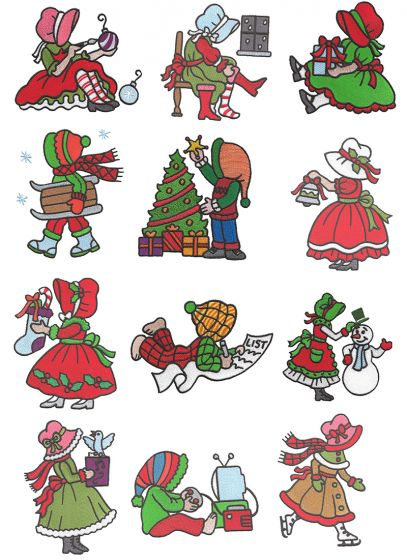 Merry Christmas Sunbonnet Sue Filled Machine Embroidery Designs