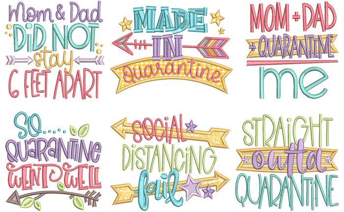 Quarantine Pregnancy Word Art Digital Machine Embroidery Designs by JuJu