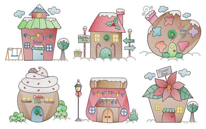 Christmas Village Vintage Sketch 1