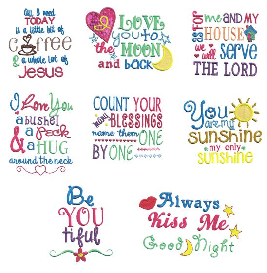 Sweet Sayings Machine Embroidery Designs by JuJu