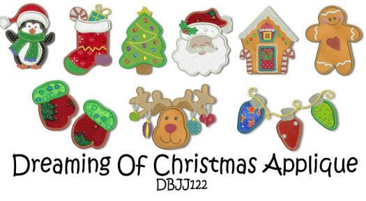 Dreaming of Christmas Applique 4x4 and 5x7