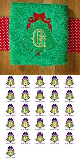 Embossed Christmas Tree Monogram Alphabet Designs by JuJu