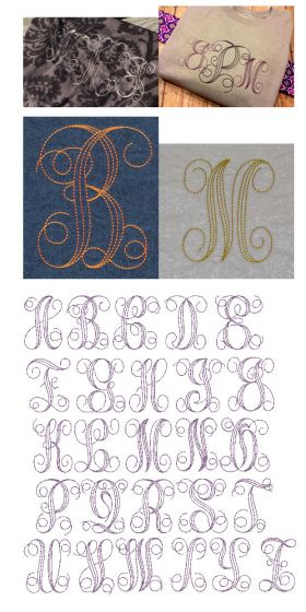 Embroidery bean stitch and floss stitch machine embroidery design font by Designs by JuJu.