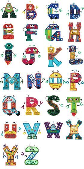 Robots Applique Alphabet Machine Embroidery Designs by JuJu