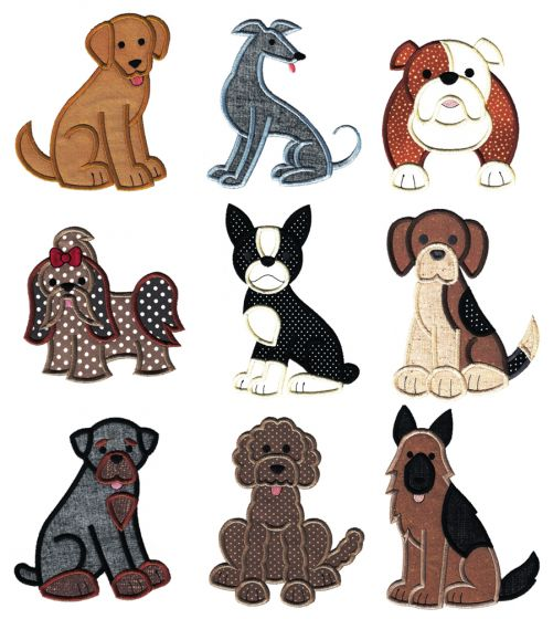Top Dog Applique Set 2 Machine Embroidery Designs by JuJu