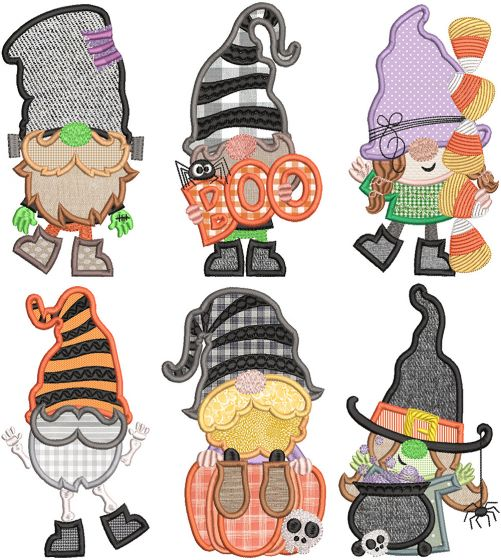 Halloween Gnomes Digital Machine Embroidery Designs by JuJu