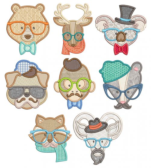 Hipster Animal Faces Applique Machine Embroidery Designs By JuJu