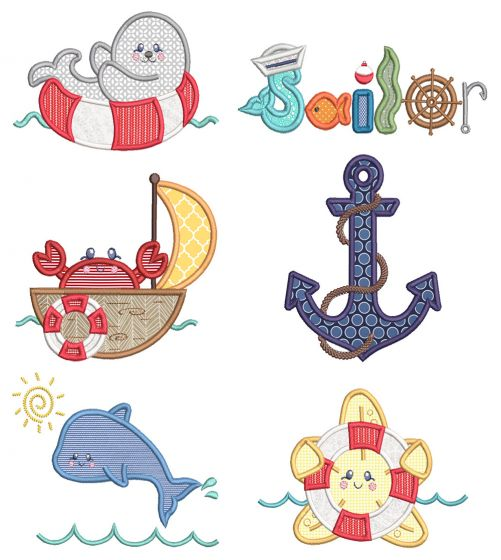 Sweet Nautical 3 Machine Embroidery Designs By JuJu