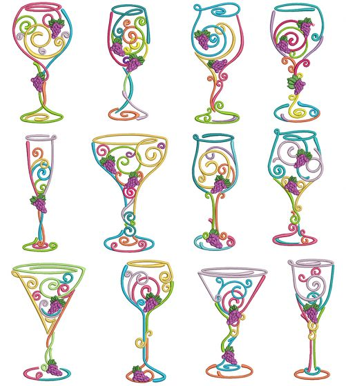 Whimsical Wine Glasses Machine Embroidery Designs by JuJu