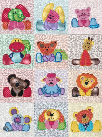 Stuffed Animal Applique and Quilt Blocks Machine Embroidery Designs by JuJu