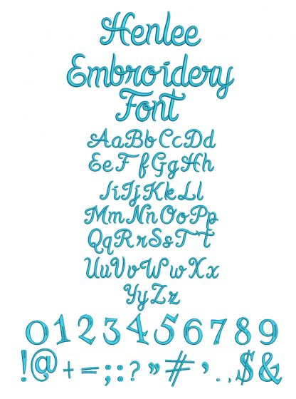 Henlee Machine Embroidery Font Designs by JuJu