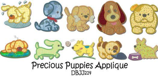 Precious Puppies Applique 4x4 and 5x7