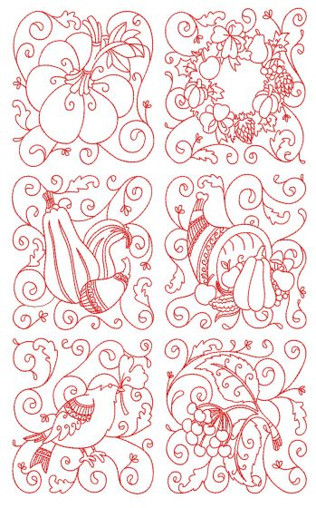 Autumn Quilt Blocks 1 Machine Embroidery Designs by JuJu