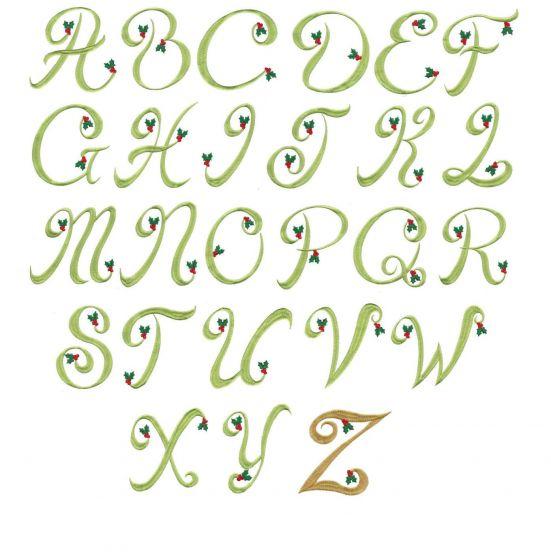 Christmas holly monogram alphabet machine embroidery font