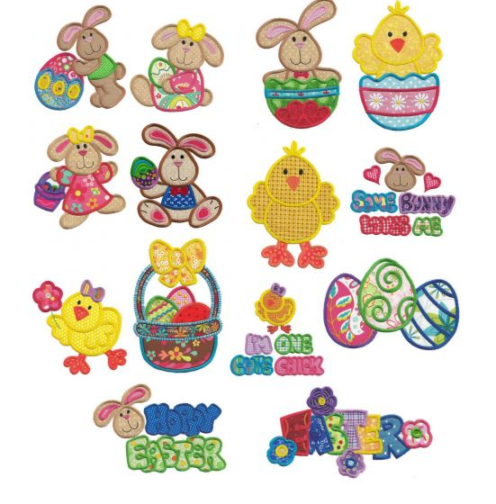 Jumbo easter bunny hop chicks eggs machine applique embroidery designs