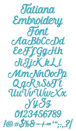 Tatiana Embroidery Font Machine Embroidery Designs by JuJu