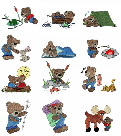 Camping Teddy Bears Filled Machine Embroidery Designs by JuJu