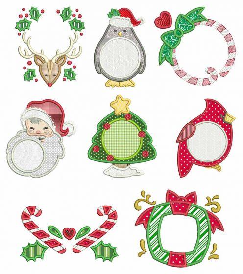 Christmas Monogram Frames 2 Machine Embroidery Designs by JuJu