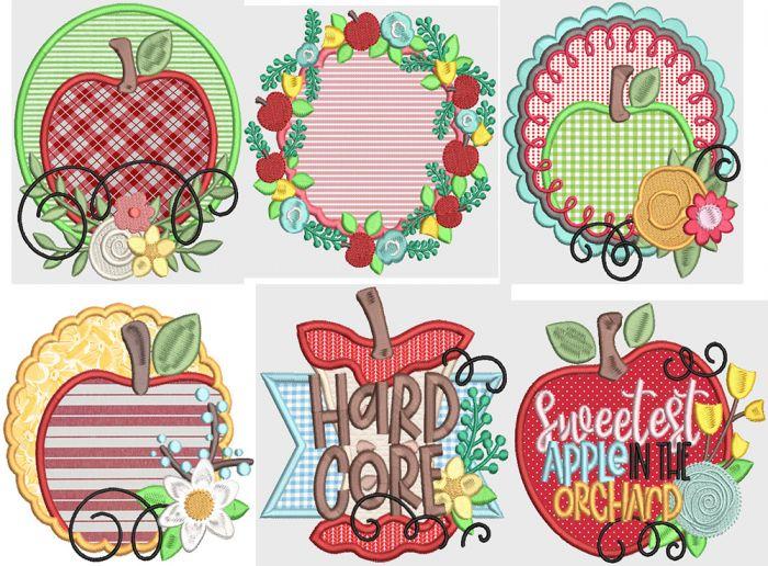 Fresh Apples Digital Machine Embroidery Designs by JuJu