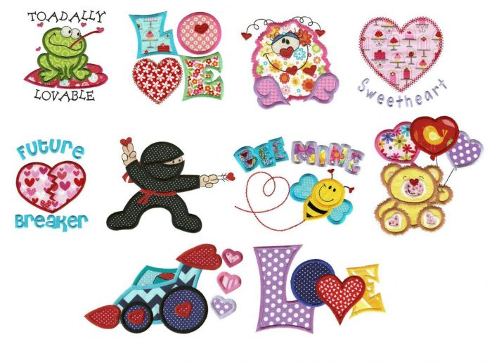 Valentine hearts aplenty with ninja and frog applique machine embroidery designs