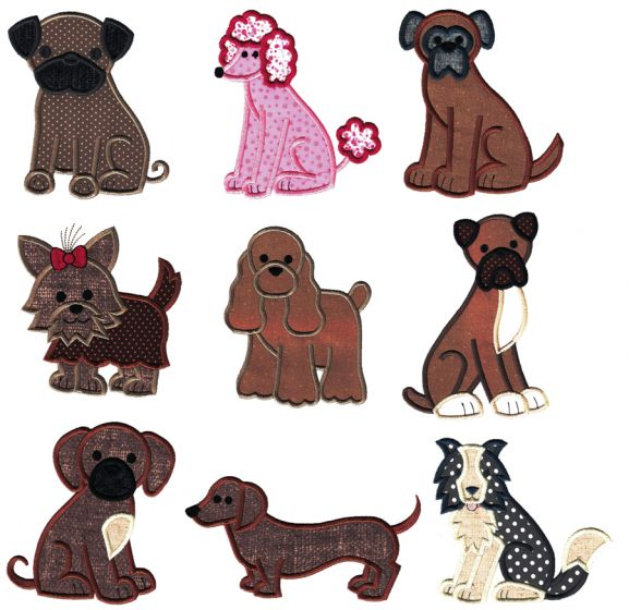 Top Dog Applique Set 3 Machine Embroidery Designs by JuJu