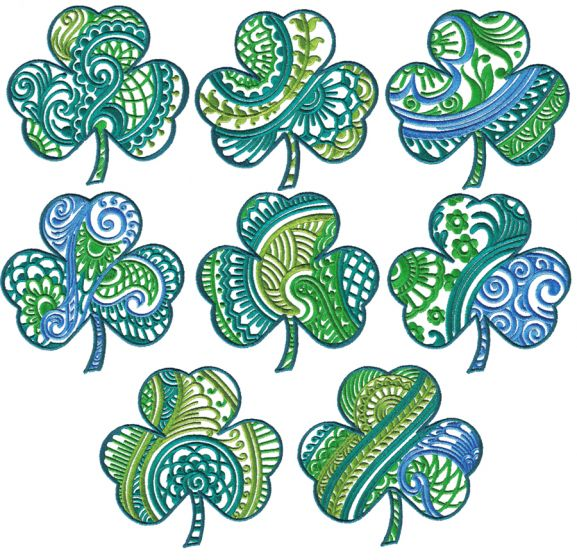 Ornamental Shamrocks St Patricks Day Designs by JuJu Machine Embroidery Designs