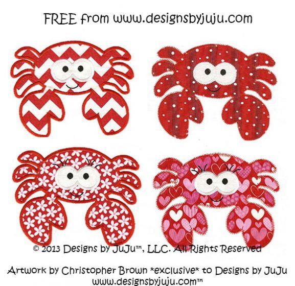 Cute Free Crab Applique machine embroidery design
