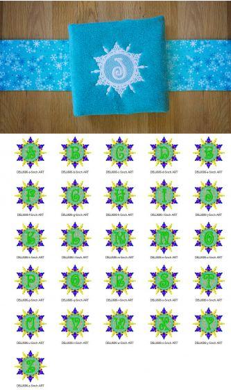 Elegant Snowflake Monogram Alphabet Designs by JuJu